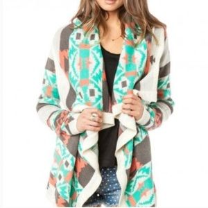 Windsor women's boho Aztec print sweater cardigan